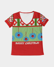 Load image into Gallery viewer, Merry Christmas Diamonds and Balls Women's V-Neck Tee