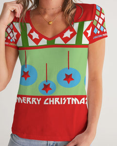 Merry Christmas Diamonds and Balls Women's V-Neck Tee