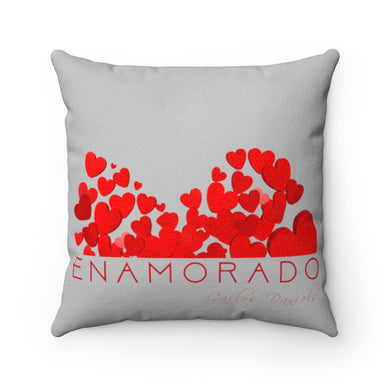 Carlos Daniels - Enamorado 10 - Faux Suede Square Pillow (Light Grey)