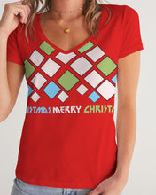 Load image into Gallery viewer, Carlos Daniels - Merry Christmas Diamonds Women's V-Neck Tee