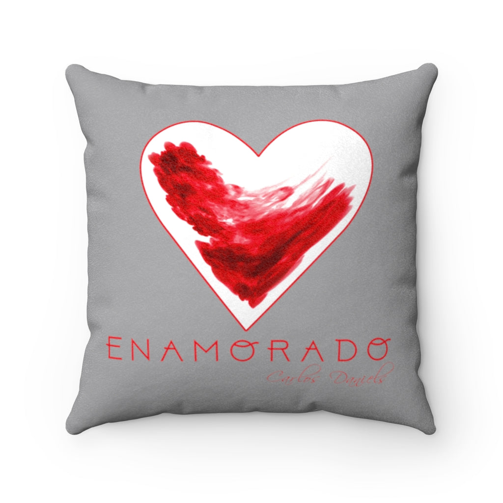 Carlos Daniels - Enamorado 11 - Faux Suede Square Pillow (Light Grey)