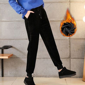 Slim Women Pant Winter Lambskin Cashmere Pants Warm Female Casual Pants Harem Pants Lined Fleece Trousers Autumn Sweatpants