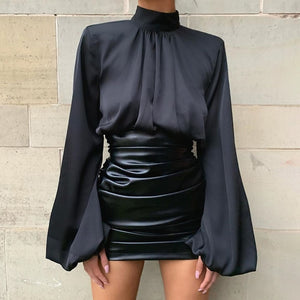 WannaThis Black Lantern Sleeve Hight Neck Satin Blouse Women Slim Solid Ruched Cropped Elastic Fashion Spring Elegant Ladies Top