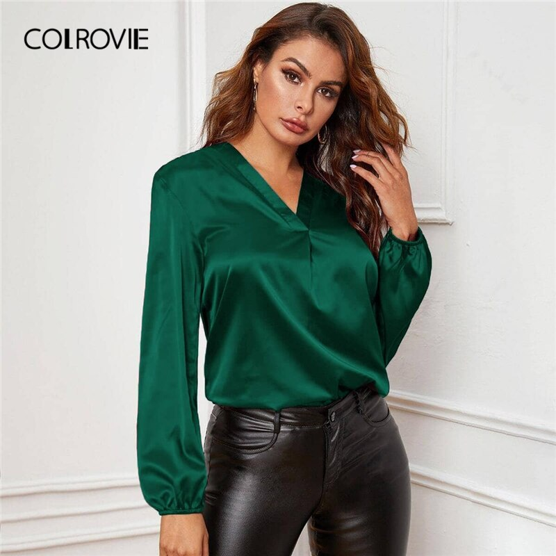 COLROVIE V-neck Lantern Sleeve Satin Blouse Top Women Autumn Bishop Long Sleeve Solid Elegant Tops and Blouses