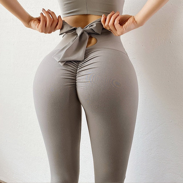 NORMOV Sexy Bow Leggings Women High Waist Elastic Push Up Fitness Leggings Femme Slim Solid Color Workout Leeging Femme Casual