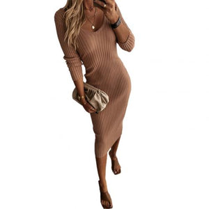 Women Autumn Solid Color V Neck Long Sleeve Ribbed Knitted Bodycon Maxi Dress Women's clothing женское платье vestidos 2020