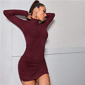 COLROVIE Lettuce Trim Ruched Detail Bodycon Dress Women Stand Collar Solid Long Sleeve Elegant Pencil Mini Dresses