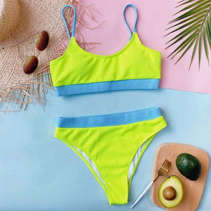 Sexy Ribbed High Waist Bikini Sky Blue Purple Swimwear Two-piece Bikini Swim V2439