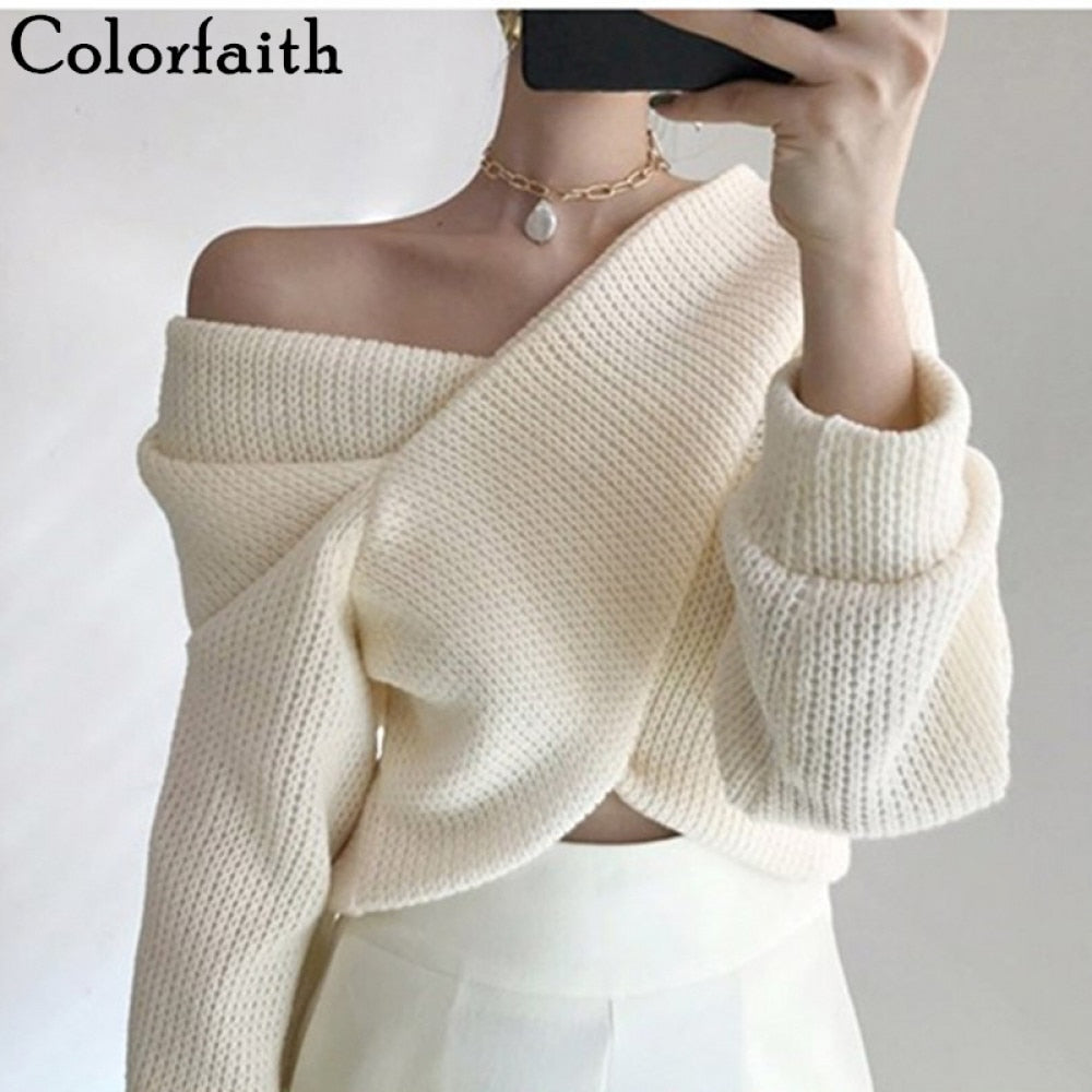 olorfaith 2020 Autumn Winter Women Pullover V-neck Sexy Off Shoulder Sweater Knitted Stylish Casual Korean Female Jumpers SW3053