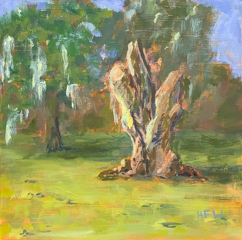 Old Oak at the lakefront.  Plein Air painting.