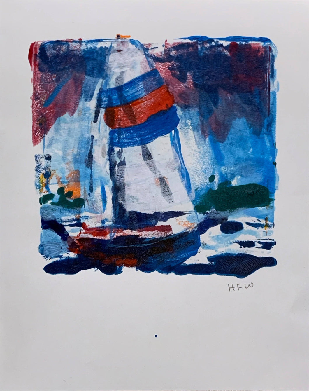 Sailing Under Spinnaker - monoprint
