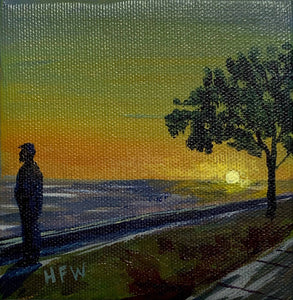 "Lakefront Sunset, 4"" x 4"", acrylic on cannvas"