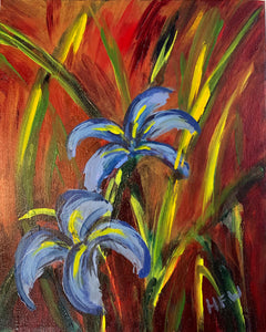 "Louisiana Irises, 8"" x 10"", acrylic on canvas"