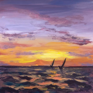 "Lake Pontchartrain Sunset, 12"" x 12"", acrylic on board"