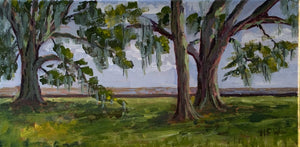 "Mandeville Lakefront - en plein air, 7"" x 14"", acrylic on canvas"
