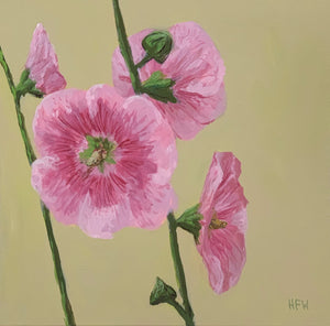 "Hollyhocks, 12"" x 12"", acrylic on canvas"
