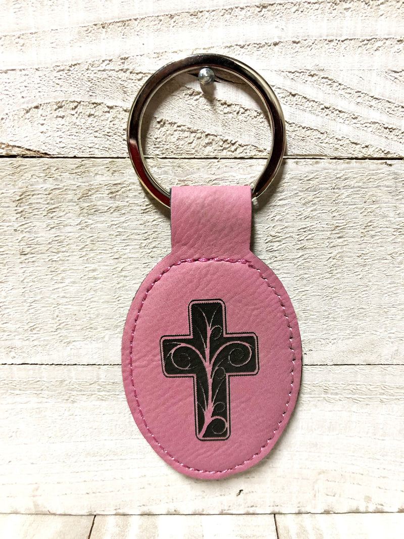 Engraved Oval Key Chain- Cross Pink