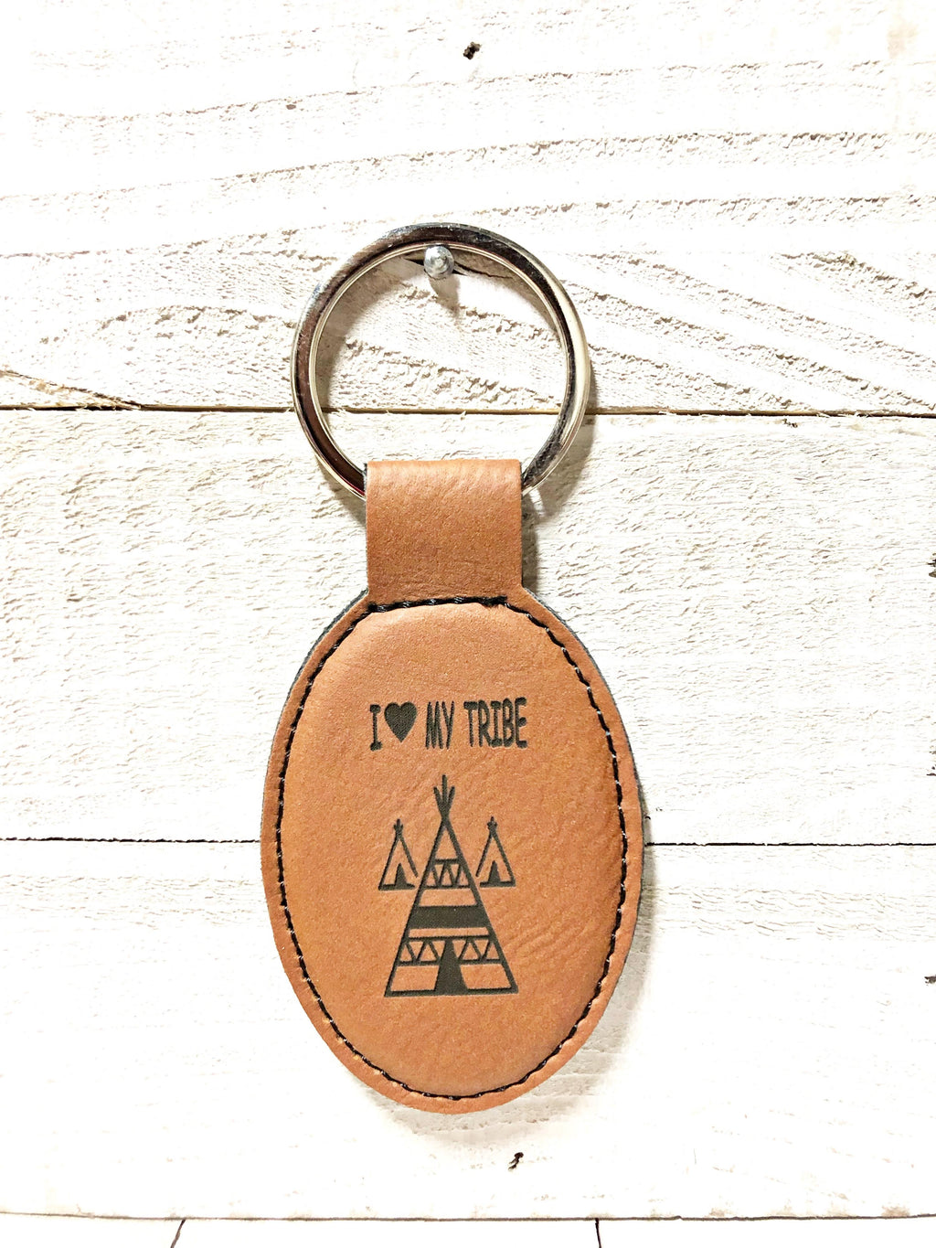 Engraved Oval Key Chain- My Tribe Dark Brown