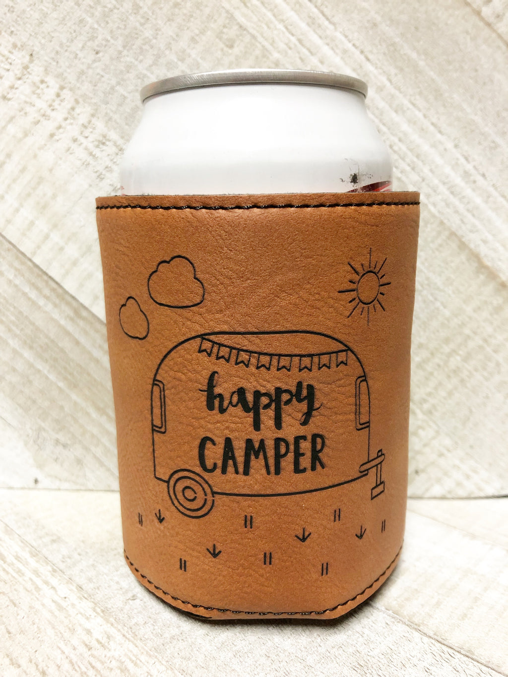 Engraved Beverage Koozie Holder- Happy Camper Dark Brown