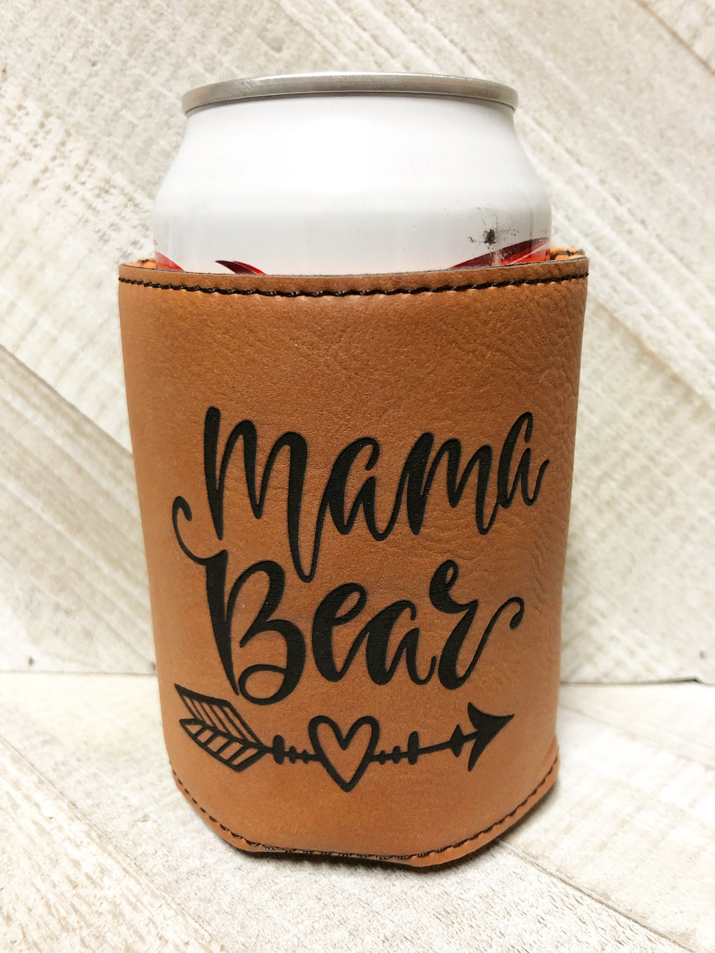 Engraved Beverage Koozie Holder- Mama Bear Dark Brown