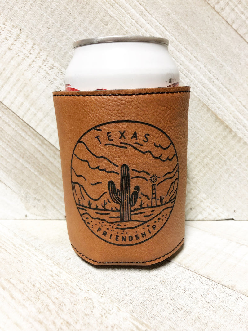 Engraved Beverage Koozie Holder- Texas Friendship Dark Brown
