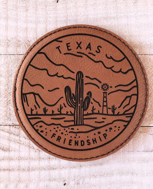 "Engraved 4"" Round Coaster- Texas Friendship Dark Brown"