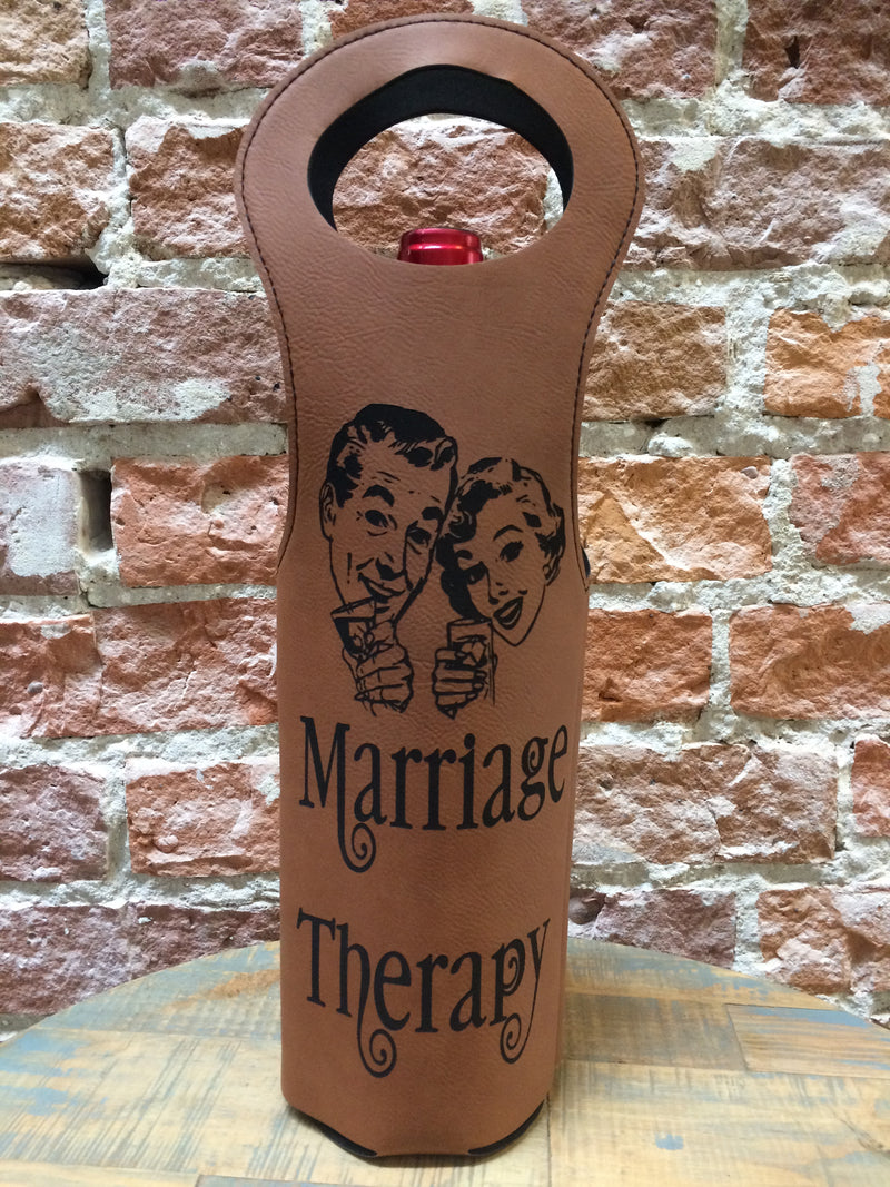 Engraved Wine Bag- Marriage Therapy Dark Brown