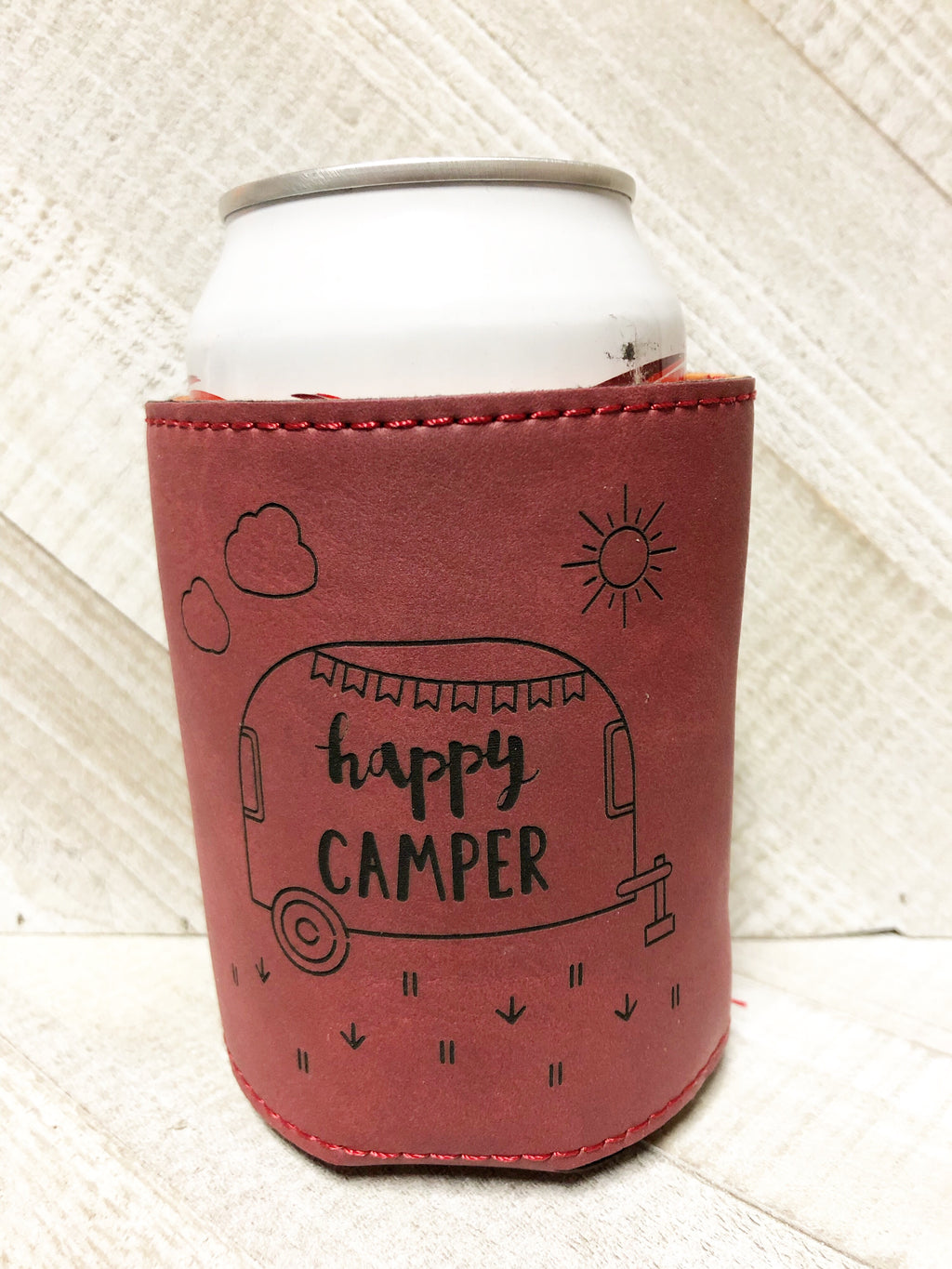 Engraved Beverage Koozie Holder- Happy Camper Maroon