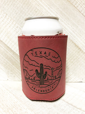 Engraved Beverage Koozie Holder- Texas Friendship Maroon