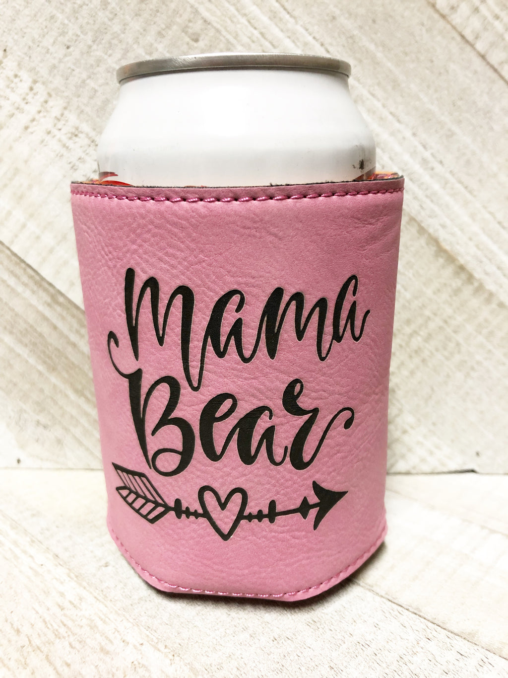 Engraved Beverage Koozie Holder- Mama Bear Pink