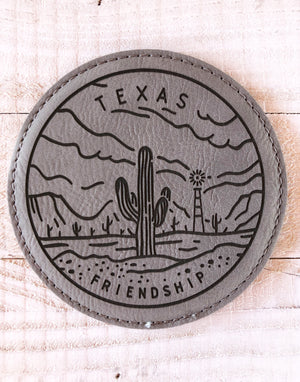 "Engraved 4"" Round Coaster- Texas Friendship Gray"