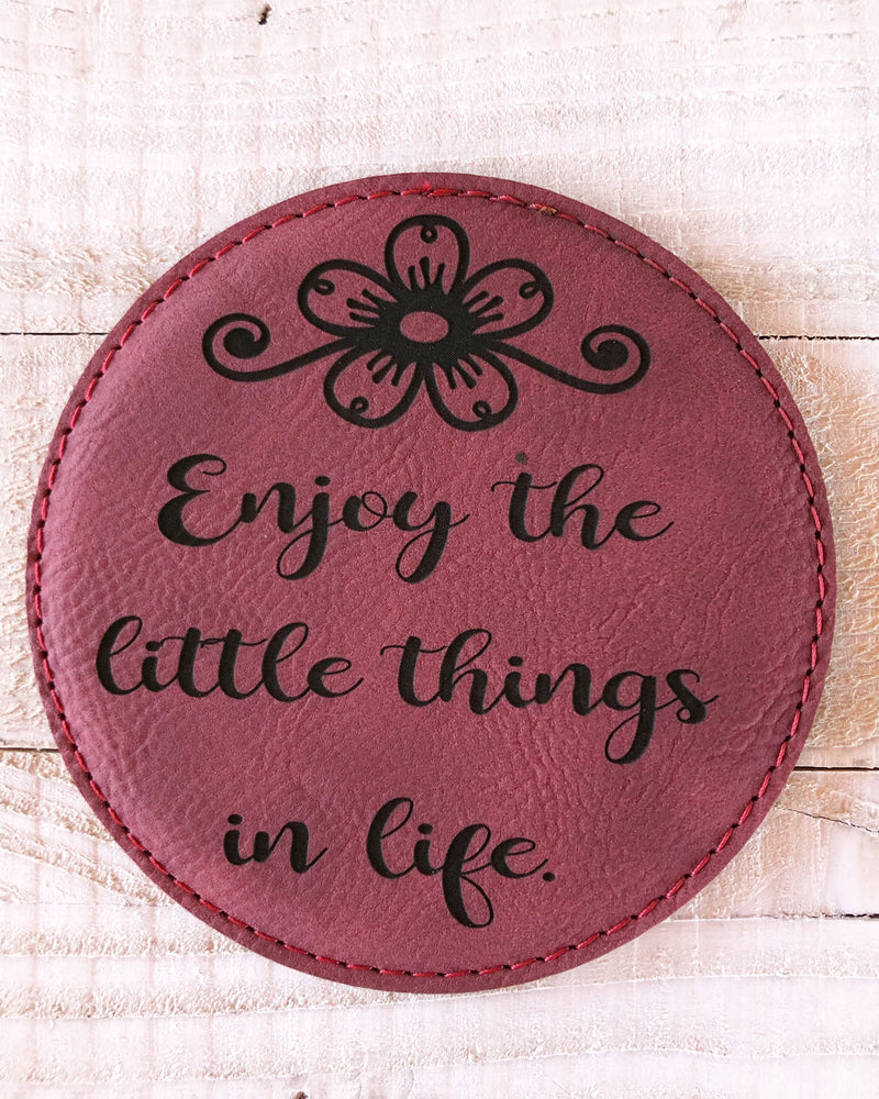"Engraved 4"" Round Coaster- Enjoy Life Maroon"