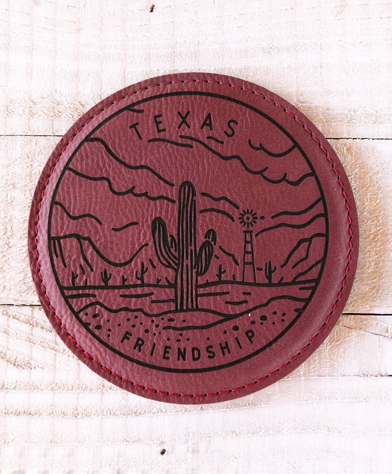 "Engraved 4"" Round Coaster- Texas Friendship Maroon"