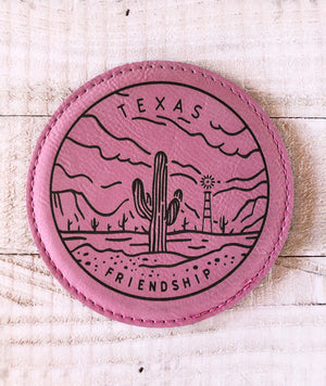 "Engraved 4"" Round Coaster- Texas Friendship Pink"