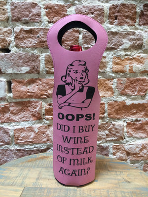Engraved Wine Bag- Oops! Did I buy Wine Instead Pink