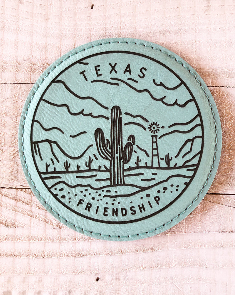 "Engraved 4"" Round Coaster- Texas Friendship Teal Blue"