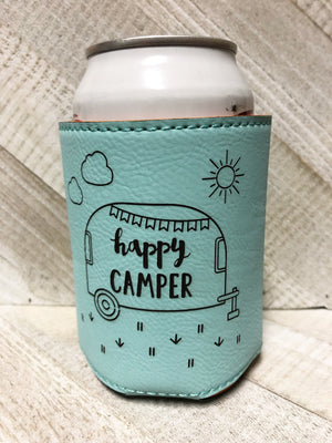 Engraved Beverage Koozie Holder- Happy Camper Teal Blue