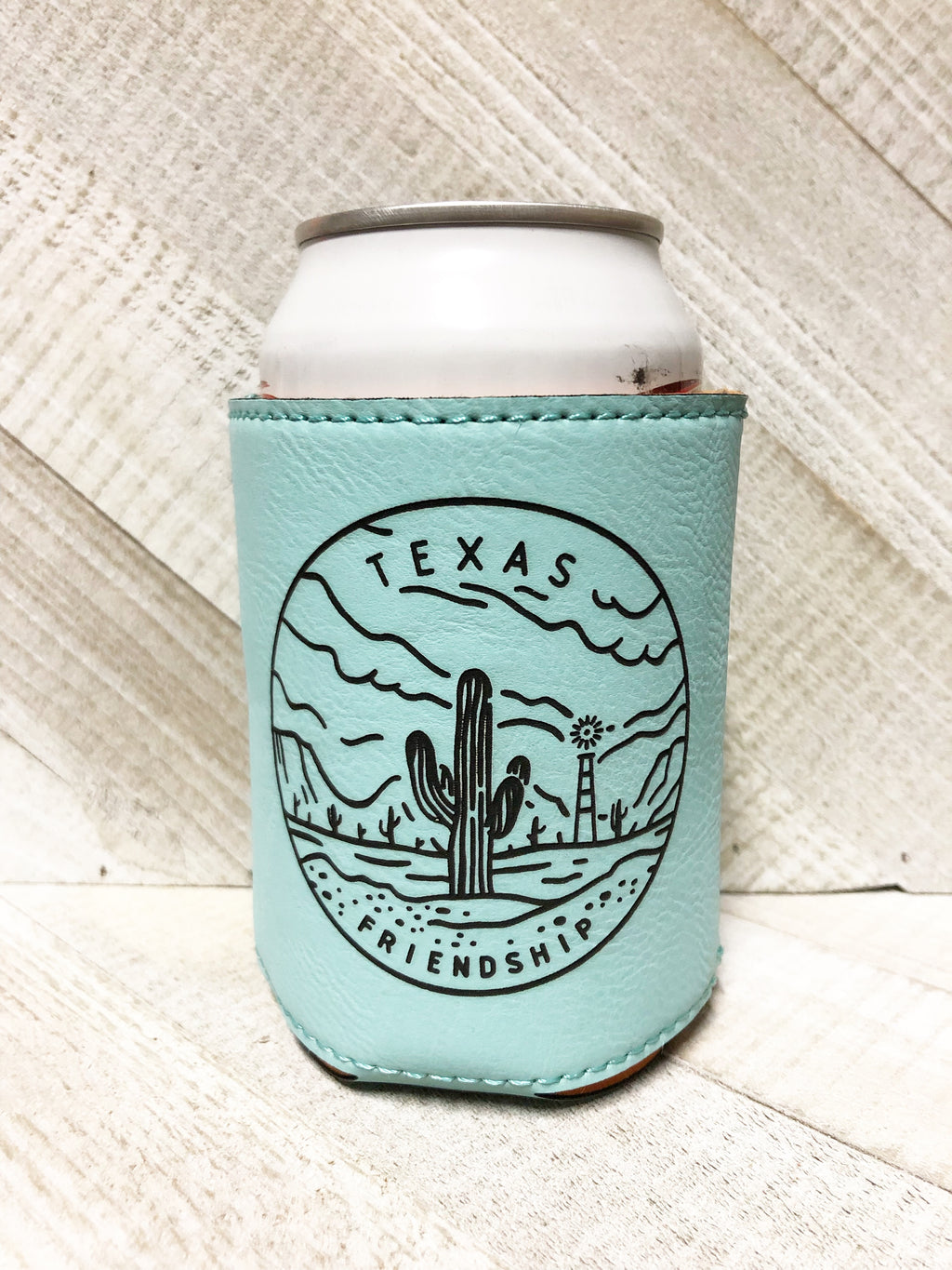 Engraved Beverage Koozie Holder- Texas Friendship Teal Blue
