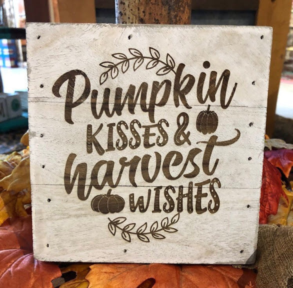 Engraved Decor-Pumpkin Kisses & Harvest Wishes