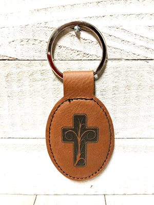 Engraved Oval Key Chain- Cross Dark Brown