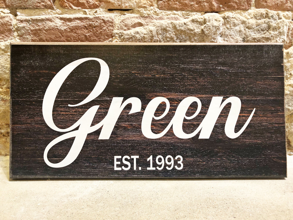 Custom UV Printed Sign - Dark Brown Barn Wood w/ Custom Name & Date