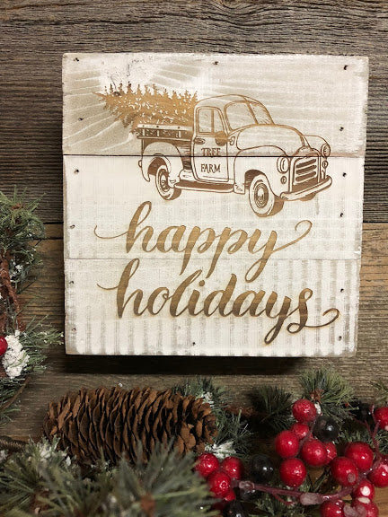 Engraved Decor- Happy Holidays Farm Truck