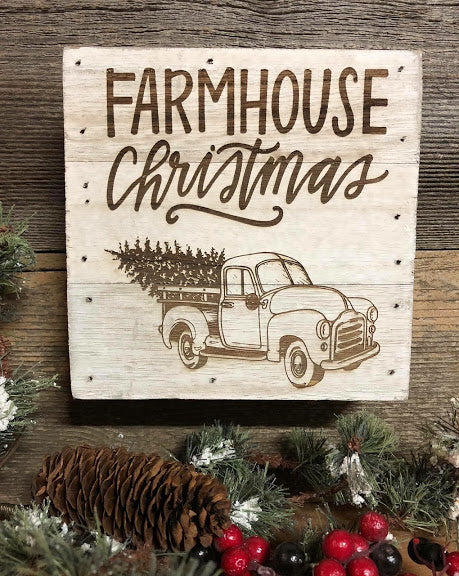 Engraved Decor-Farmhouse Christmas Truck