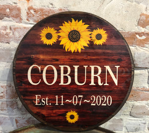 Custom Round Sign-  Barn Wood/Sunflower Design