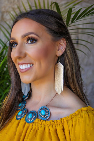 METALLIC GOLD FAUX LEATHER FRINGE EARRINGS