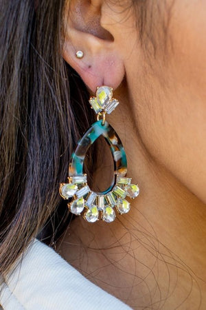 TURQUOISE RESIN EARRINGS WITH RHINESTONE