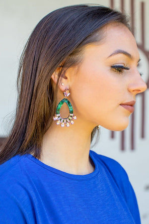 JADE RESIN EARRINGS WITH RHINESTONE