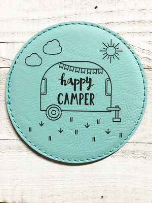 "Engraved 4"" Round Coaster- Happy Camper Teal"