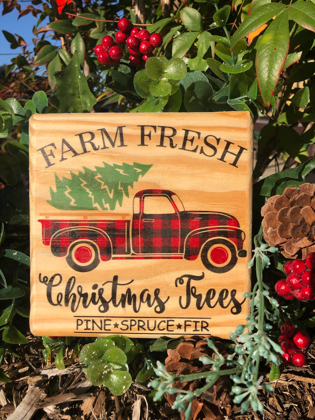 Handmade Décor- Farm Fresh Christmas Trees Buffalo Plaid truck on Natural pine