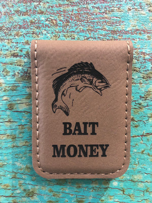 Engraved Magnetic  Money Clip Holder Light Brown-Bait Money w/ Fish